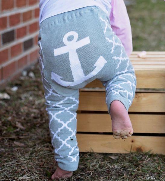 Doodle Pants - Anchor Gray Quatrefoil Leggings