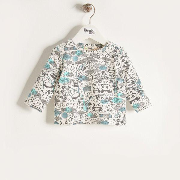 Bonniemob - Shirt Panda Print blau