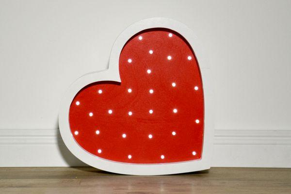 HappyMoon - LED Nachtlampe Herz rot weiss