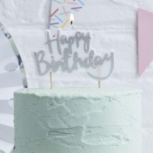 """Ginger Ray - Kuchen- Kerze Glitzer """"Happy Birthday"""" Silber"""