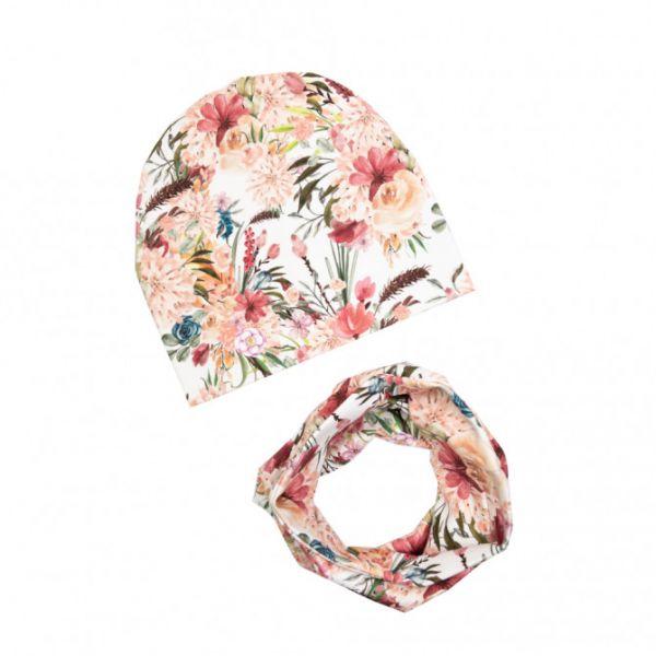 Ul & Ka - Beanie & Schal Set Boho Flowers