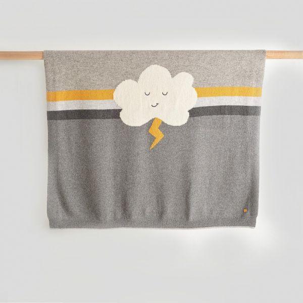 Bonniemob - Strick- Kuscheldecke Flash & Cloud grau