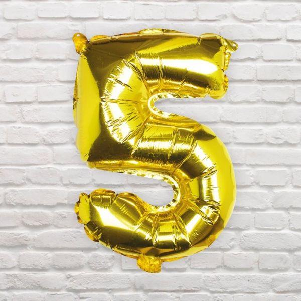Ginger Ray - Zahlenballon Gold 5