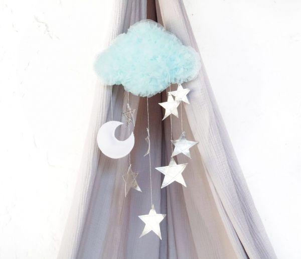 Solo un Sogno - Mobile Traumwolke Aqua mit Sternen