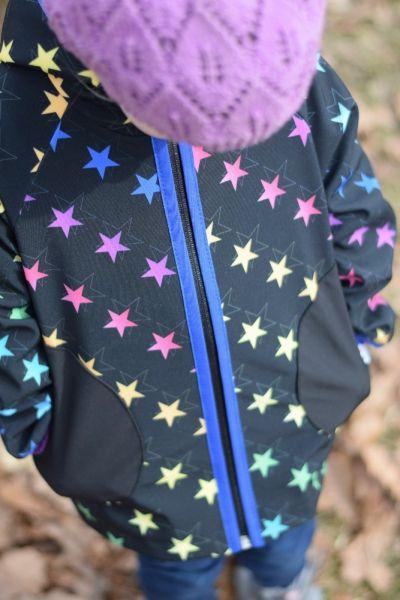 Green Baby 063 - Softshell Jacke Frühling bis Herbst ungefüttert Rainbow Stars