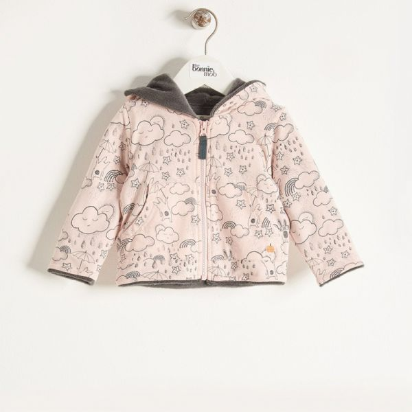 Bonniemob - Hoodie gefüttert, Sunshine & Rain Print rosa