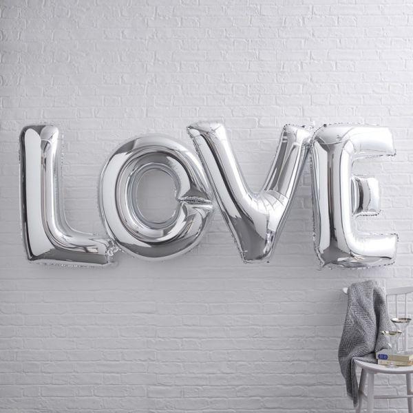 """Ginger Ray - Ballon Schriftzug Girlande """"Love"""" silber XL"""